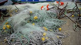 Fishing nets. For sea boat stock video