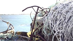 Fishing nets. For sea boat stock footage