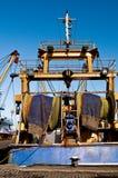 Fishing nets on a fishing trawler Stock Photos