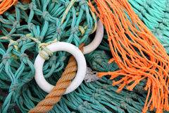 Fishing nets and floats. On pier at Burghead harbour, Moray, scotland Royalty Free Stock Photography