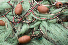 Fishing nets and floats Stock Images