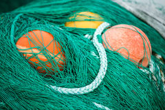 Fishing nets and floats Royalty Free Stock Photography