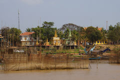 Fishing nets  in front of Buddhist temple Royalty Free Stock Image