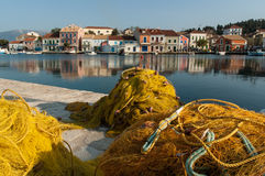 Fishing nets in Greece Stock Images
