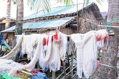 Fishing nets hanging outside in Myanmar Stock Photo
