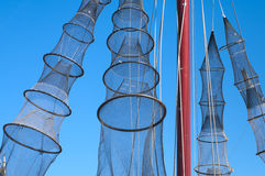 Fishing nets hanging to dry Royalty Free Stock Photos