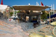 Fishing nets in harbor stock photo