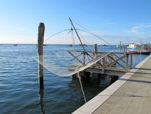 Fishing nets hung on the island of Pellestrina, Venice Stock Images