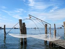 Fishing nets hung on the island of Pellestrina Royalty Free Stock Images