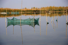 fishing nets in the lake Stock Photo