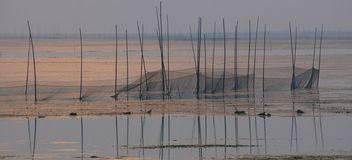 Fishing nets in the lake stock photography