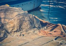 Fishing Nets in the Marina Royalty Free Stock Image