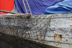 Fishing nets and old ship Stock Photo
