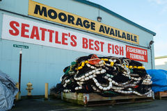 Fishing nets on pallet. Seattle, WA, USA Mar. 4, 2017: Commercial fishing nets piled onto a pallet outside a net shed at Fishermens Terminal in Seattle Royalty Free Stock Photo