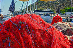 Fishing nets on pier Stock Photography