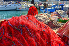Fishing nets on pier Royalty Free Stock Images