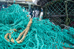Fishing nets at Port Isaac Harbour Royalty Free Stock Image