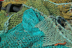 Fishing net. S in the port of Loctudy, Finistere, Brittany, France spread to dry stock photography