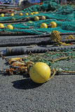 Fishing net. S in the port of Loctudy, Finistere, Brittany, France spread to dry royalty free stock photo