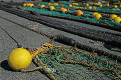Fishing net. S in the port of Loctudy, Finistere, Brittany, France spread to dry stock images