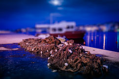 Fishing Nets On The Port In The Night Stock Photography