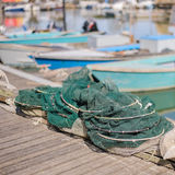 Fishing nets on the quay Stock Photography