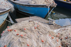 Fishing nets on the quay Stock Photo