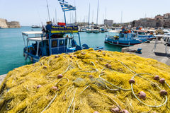Fishing nets on the quayside. Stock Images