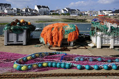 Fishing nets at Quiberon in France Stock Photography