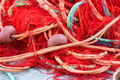 Fishing nets with red, green, orange colors. Stock Images