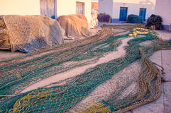 Fishing nets for repair Royalty Free Stock Photography