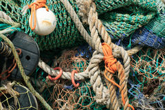 Fishing nets and rigging rope Stock Photo
