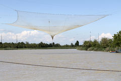 Fishing nets on the river Royalty Free Stock Image