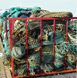 Fishing nets. And ropes in a container royalty free stock photos