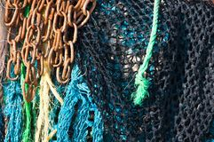 Fishing Nets and Rusty Chain Royalty Free Stock Photography