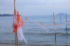Fishing Nets in the sea background with copy space Stock Photos