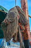 Fishing nets of the ship. Old fishing nets of the fishing ship Royalty Free Stock Photos