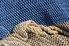 Fishing nets still life background pattern Royalty Free Stock Photo