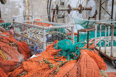 Fishing nets stored in a port Stock Photo