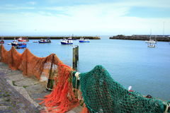 Fishing nets stretched in port Royalty Free Stock Images