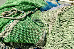 Fishing nets and tackle Stock Photos
