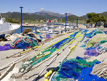Fishing nets and tackle in Andratx port. From mallorca Balearic island Stock Images