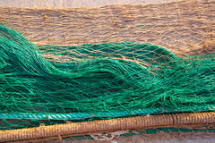 Fishing nets texture pattern over soil stock image