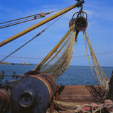 Fishing nets on a trawler. Before before the marine fishing Royalty Free Stock Images