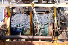Fishing nets on trawler. Fishing nets on a small fishing boat trawler Stock Image