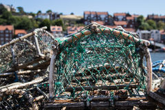Fishing nets in Whitby harbour. Empty Fishing nets in Whitby harbour Royalty Free Stock Image