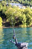 Fishing New Zealand South Island lakes and mountains. New Zealand lakes, mountains and fishing in the summer of 2019 stock photography