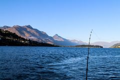 Fishing New Zealand South Island lakes and mountains. New Zealand lakes, mountains and fishing in the summer of 2019 royalty free stock images