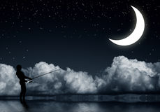 Fishing at night Royalty Free Stock Images