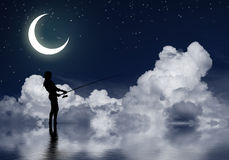 Fishing at night Stock Photos